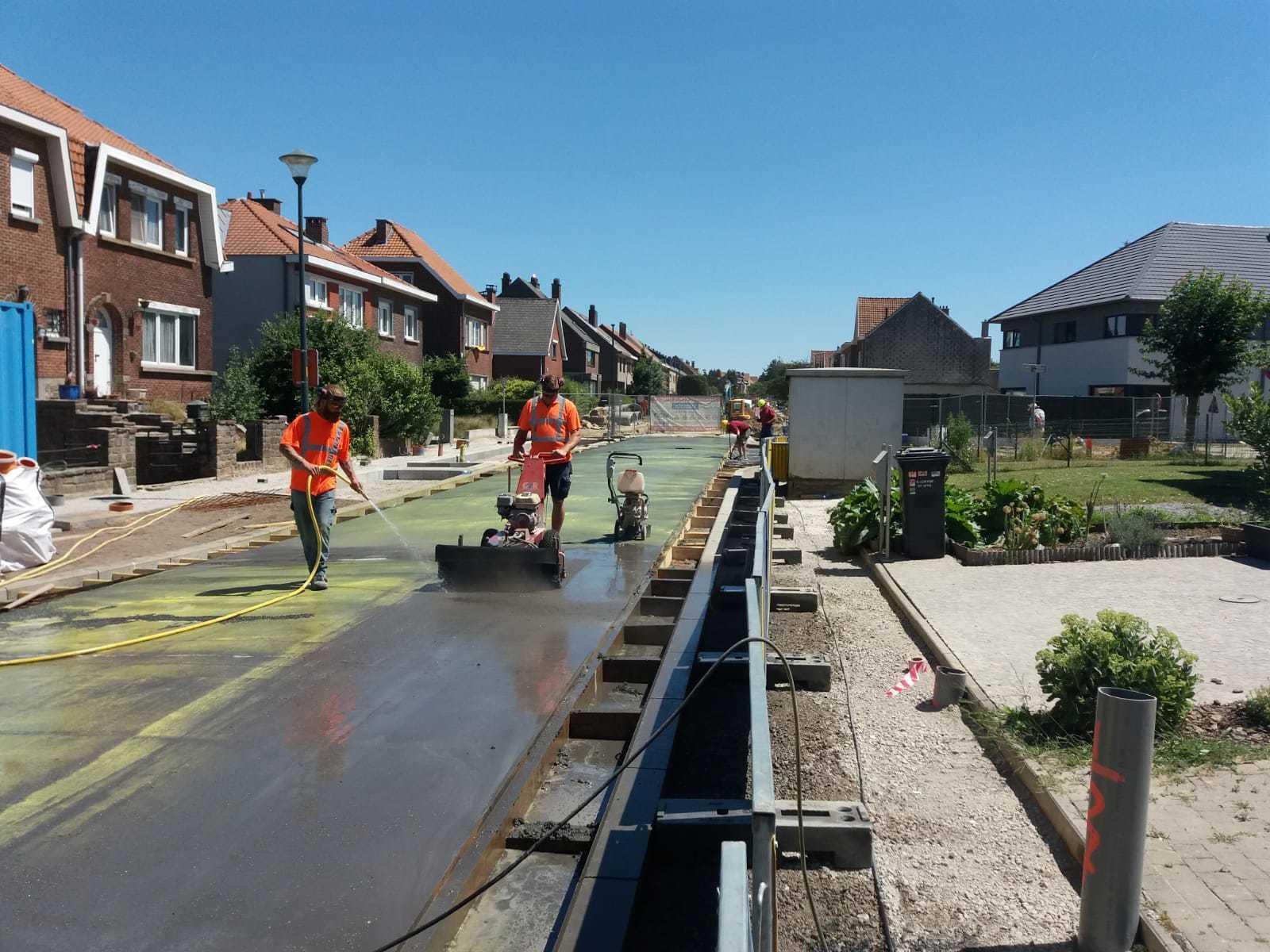 Uitwassen betonverharding Zaventem