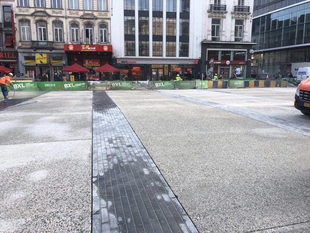 Uitwassen van beton in Brussel